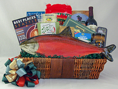 #26 Northwest Greetings Gourmet Gift Basket with Hand Painted Pottery Salmon Platter