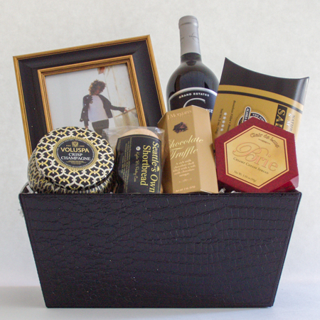 #27 Scented Candle and Photo Frame Gift Basket with Wine, Champagne or Sparkling Cider Gift Basket