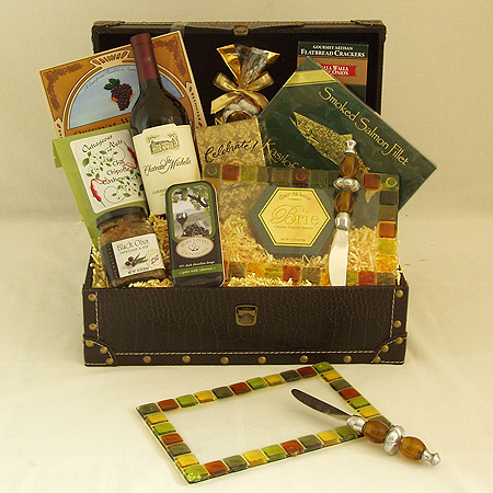 #28 Easy Entertainer Gourmet Food and Wine Gift Basket with Glassworks Northwest Handmade Appetizer/Cheese Plate