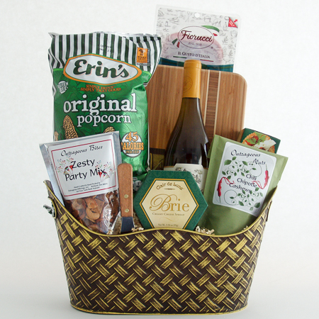 #28 Easy Entertainer Gourmet Food and Wine Gift Basket with Bamboo Serving Board