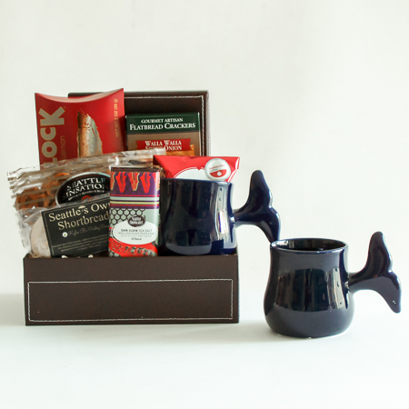 #34 Pacific Northwest Gourmet Gift Basket with a Handmade Pottery Salmon Mug