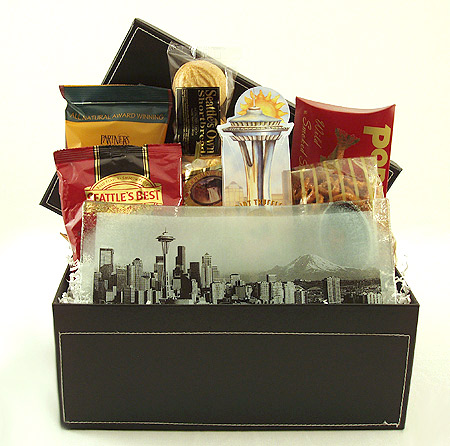 #16A The Seattle Gift Basket with Handmade Seattle Skyline Plate