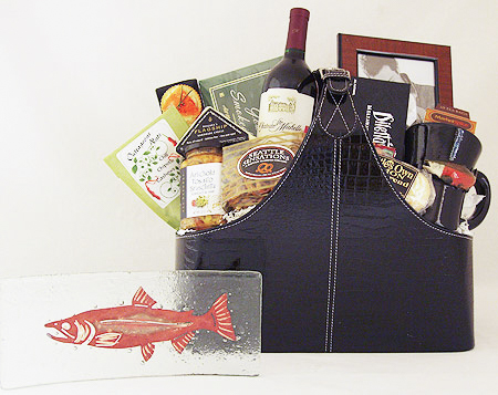 #35A The Grand Gourmet Executive Gift Basket with Jones Glassworks Copper Salmon Plate