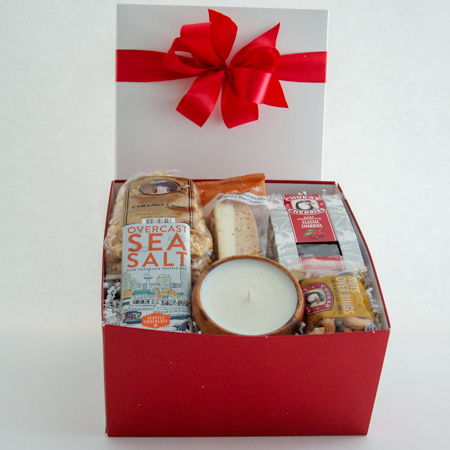 #37B  Gift Box of Goodies with with a Vanilla Scented Candle in a Re-Useable Acacia Wood Bowl