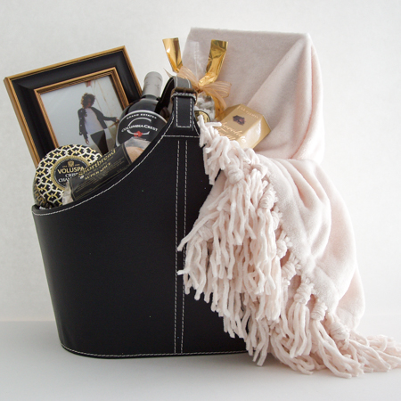 #38 Fireside Retreat with Wine or Champagne Sparkling Cider Gift Basket