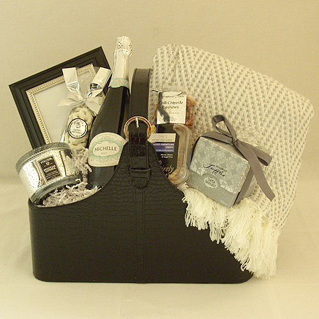 38 Fireside Retreat Champagne or Wine or Sparkling Cider Gift Basket