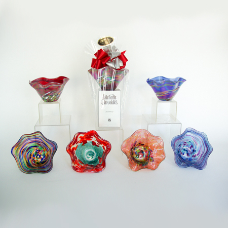 #41 Glass Eye Studios in Seattle Blown Glass Bowl and Dilettante Chocolate Truffles
