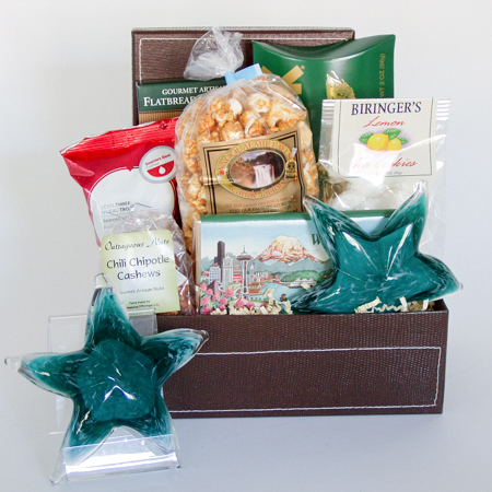 #42A Northwest Greetings Gift Box with Smoked Salmon and Glass Starfish