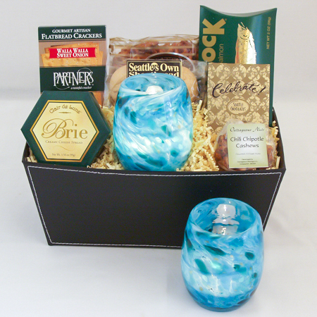 #43 Hand Blown Glass Votive in Turquoise by Totally Blown Glassworks of Seattle Gourmet Gift Basket