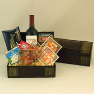 #45 The Entertainer Wine Gift Basket with Handmade Copper Coasters