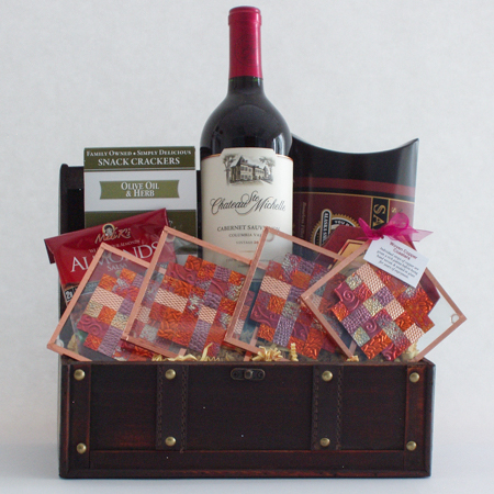 #45A The Entertainer Wine or Champagne Gift Basket with Handmade Copper Coasters