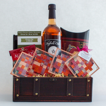 #45B The Entertainer Sparkling Cherry Apple Cider Gift Basket with Handmade Copper Coasters