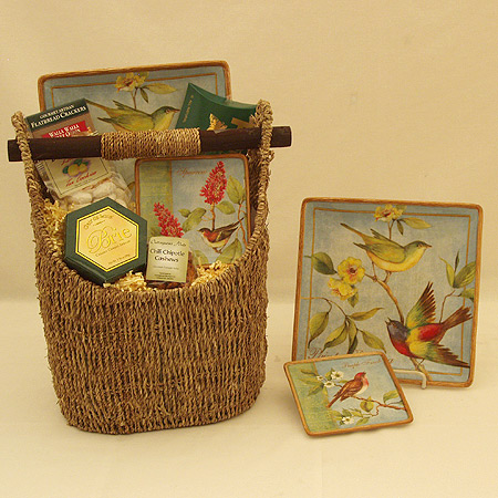 #46C Bird Lover's Gift Basket with Two Botanical Birds Plates by Susan Winget