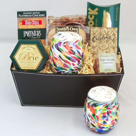 #47 Hand Blown Glass Votive in Vivid Multi Colors by Totally Blown Glassworks of Seattle Gourmet Gift Basket
