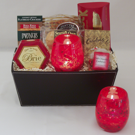 #50 Hand Blown Glass Votive in Red by Totally Blown Glassworks of Seattle Gourmet Gift Basket