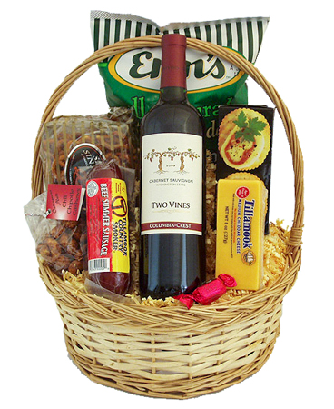 #51 The Northwest Classic Summer Sausage and Cheese with Wine, Champagne or Sparkling Cider Gift Basket
