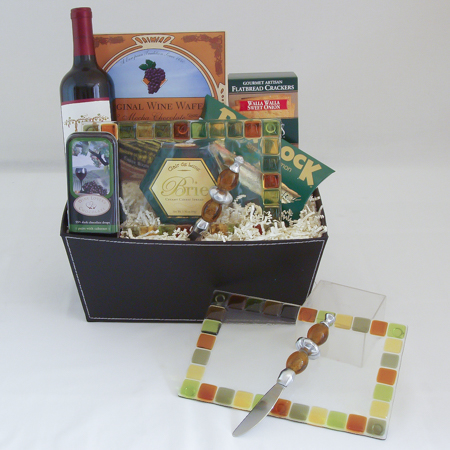 #52 Northwest Art Appetizer Plate and Wine Gift Basket