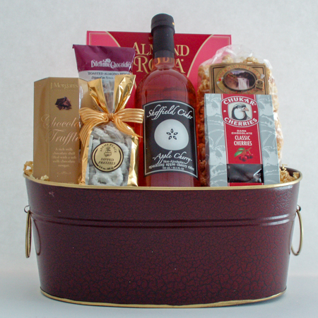 #57 Cheers to You! Sweet Treats, Sheffield Sparkling Cherry Apple Cider and Chocolates Gift Basket