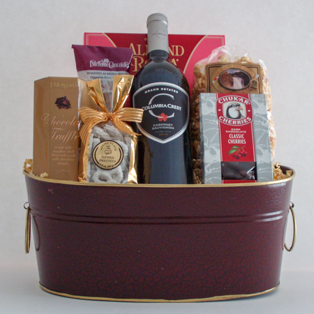 #58 Cheers to You! Sweet Treats, Wine and Chocolates Gift Basket