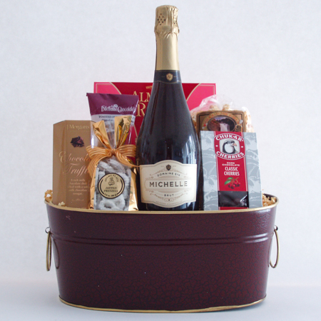 #59 Cheers to You! Sweet Treats, Champagne and Chocolates Gift Basket with Ste. Michelle Sparkling Brut