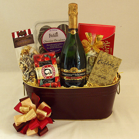59A Cheers to You!  Champagne and Chocolate Gift Basket with Ste. Michelle Sparkling Brut