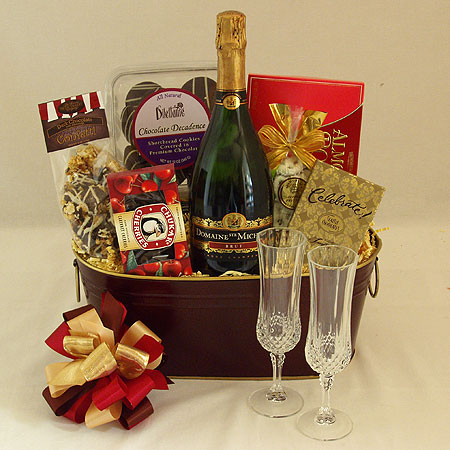 59B Cheers to You!  Champagne and Chocolate Gift Basket with Ste. Michelle Sparkling Brut with a Pair of Champagne Flutes