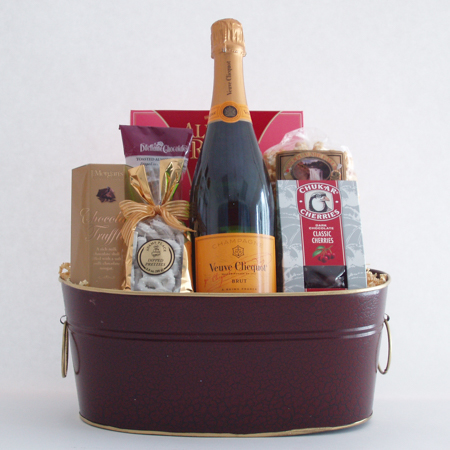 #60 Cheers to You! Sweet Treats, Champagne and Chocolates Gift Basket with Veuve Clicquot French Champagne