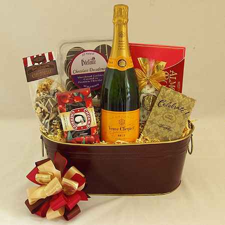 Champagne and Chocolate Gift Basket with Vve Clicquot French Champagne