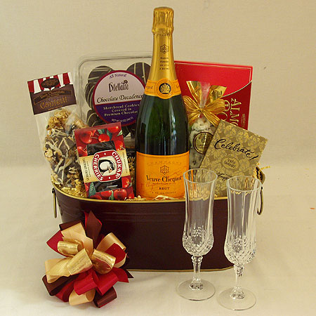 Champagne and Chocolate Gift Basket with Vve Clicquot French Champagne and a Pair of Champagne Flutes