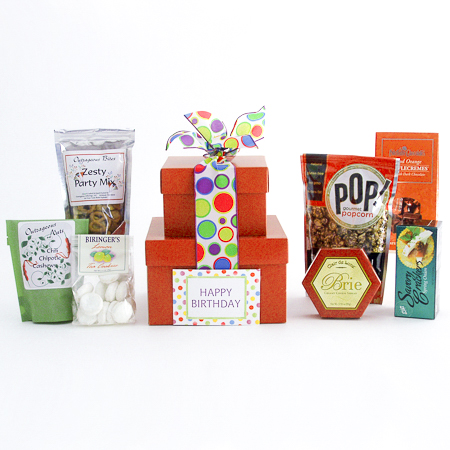 #66 Happy Birthday Gourmet Treats Stacked Gift Boxes