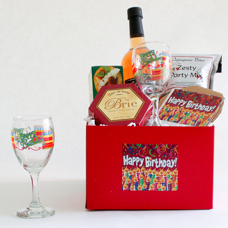 #67 Happy Birthday Celebration Gift Basket with Sparkling Cider, Wine or Champagne