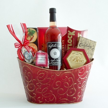 #8 Gourmet Gift Basket with Sheffield Sparkling Cherry Apple Cider