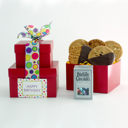 #86A Happy Birthday Gourmet Chocolates and Cookies Stacked Gift Boxes