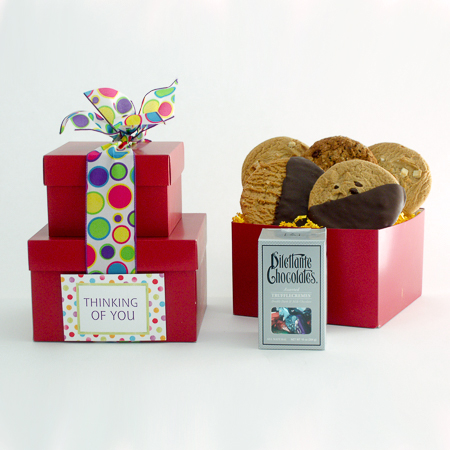 #86D Thinking of You Gourmet Chocolates and Cookies Stacked Gift Boxes