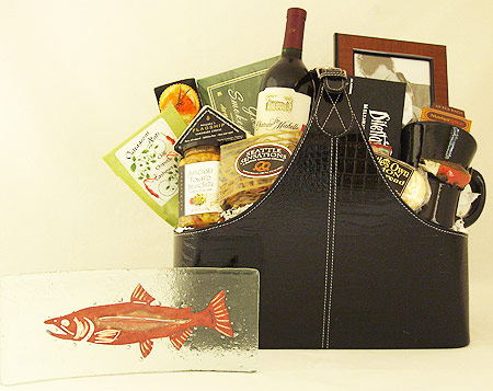 35A The Grand Gourmet Executive Gift Basket with Jones Glassworks Copper Salmon Plate