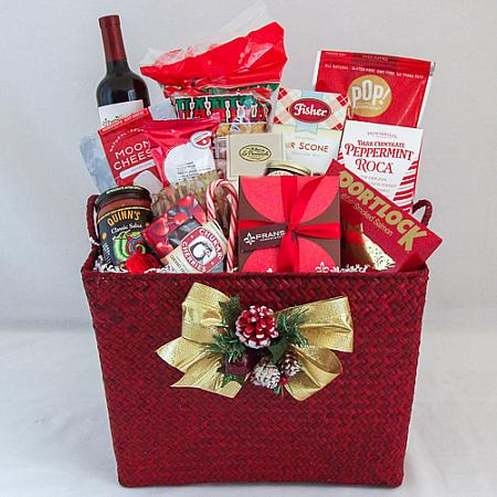 A. Northwest Gourmet Holiday Gift Basket with Wine or Champagne or Sparkling Cider