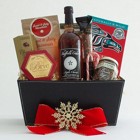 B. Holiday Northwest Gift Basket with Smoked Salmon & Sparkling Apple Cider