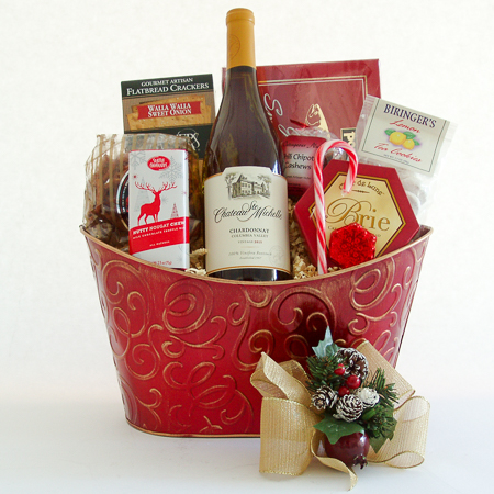 Holiday #C Holiday Northwest Wine Gift Basket with Smoked Salmon