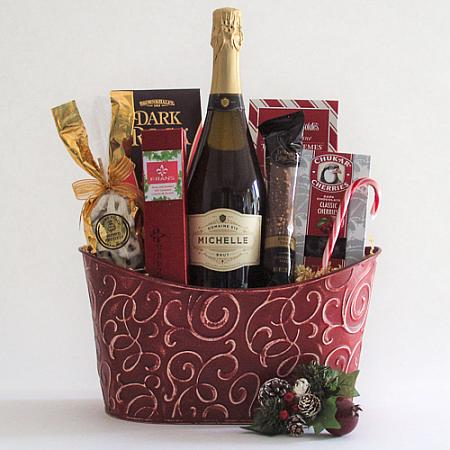 C. Cheers & Chocolates Champagne Holiday Gift Basket with Ste. Michelle Sparkling Brut