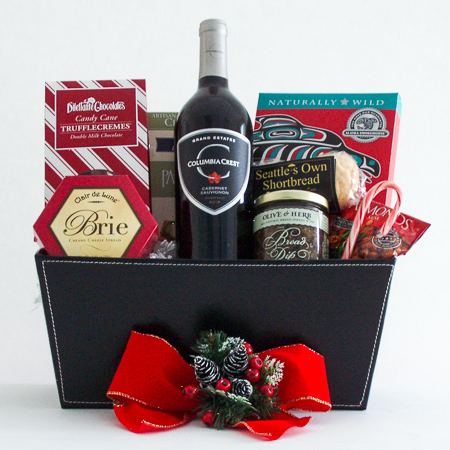 D. Holiday Northwest Gift Basket with Smoked Salmon & Wine or Champagne