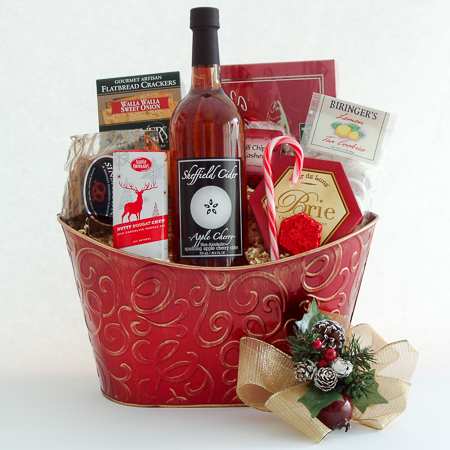 Holiday #J Holiday Northwest Gift Basket with Smoked Salmon and Sheffield Sparkling Cider