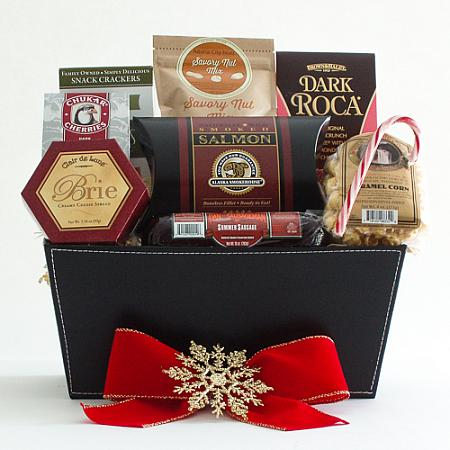 K. Holiday Snacker's Delight Smoked Salmon, Sausage and Cheese Gift Basket