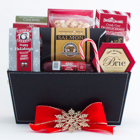 L. Holiday Snacker's Delight Smoked Salmon, Sausage and Cheese Gift Basket