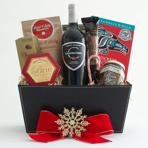 P. Holiday Northwest Wine Gift Basket with Smoked Salmon
