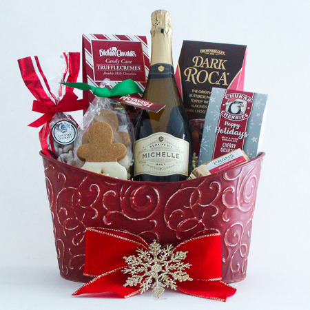 P. Cheers and Chocolates Holiday Gift Basket with Ste. Michelle Sparkling Brut