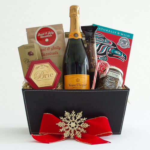 Q. Holiday Northwest Gift Basket with Smoked Salmon and Veuve Clicquot French Champagne