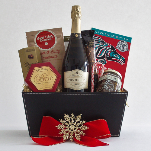 R. Holiday Northwest Gift Basket with Smoked Salmon and Ste. Michelle Sparkling Brut