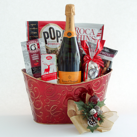 Holiday #U2  Holiday Cheer with Veuve Clicquot French Champagne and Chocolates Gift Basket