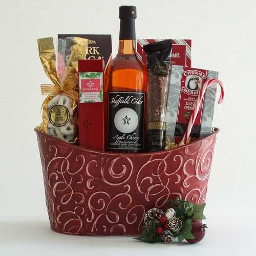 V. Cheers and Chocolates Holiday Gift Basket with Sparkling Apple Cider