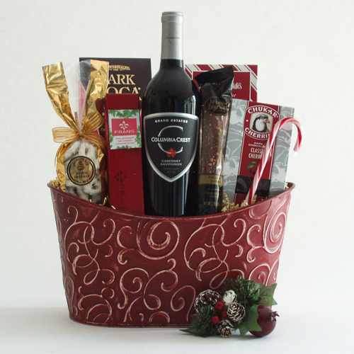 W. Cheers and Chocolates Holiday Wine Gift Basket